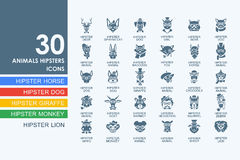 Set of animals hipsters icons. Animals hipsters vector set of modern simple icons vector illustration