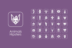 Set of animals hipsters simple icons. It is a set of animals hipsters simple web icons vector illustration
