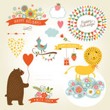Set of animals illustrations and graphic elements  Royalty Free Stock Photo