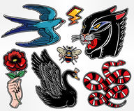 Set of animals and items in classic flash style patches. Stock Photography