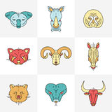 Set of animals linear flat icons, labels Royalty Free Stock Photography
