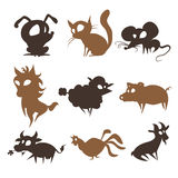 Set of animals living on the farm. Set of cartoon animals living on the farm Stock Photography