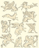 Set of animals and medieval scenes Stock Images