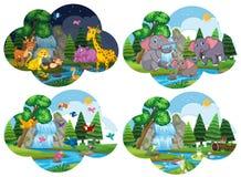 Set of animals in scenes. Illustration royalty free illustration