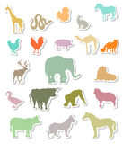 Set of animals silhouettes stickers Stock Photography