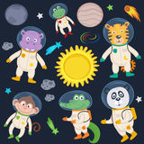 Set of animals in space part 2 Royalty Free Illustration