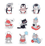 Set Animals in Warm Clothes Design Flat Royalty Free Stock Photo