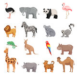 Set of animals of zoo. Zoo animals set in flat style isolated on white background. Vector illustration stock illustration