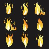 Set of animation fire and illustration  various . Cartoon  flat style.  Stock Image