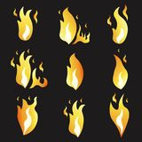 Set of animation fire and illustration  various . Cartoon  flat style.  Stock Photos