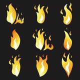 Set of animation fire and illustration  various . Cartoon  flat style.  Royalty Free Stock Photography
