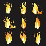 Set of animation fire and illustration  various . Cartoon  flat style.  Royalty Free Stock Photos