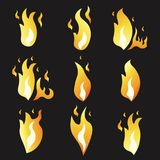 Set of animation fire and illustration  various . Cartoon  flat style.  Stock Photo