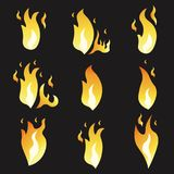 Set of animation fire and illustration  various . Cartoon  flat style.. Set of animation fire and illustration of various fire. Cartoon and flat style Royalty Free Stock Photos