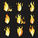 Set of animation fire and illustration  various . Cartoon  flat style.  Royalty Free Stock Images