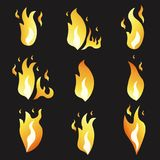 Set of animation fire and illustration  various . Cartoon  flat style.. Set of animation fire and illustration of various fire. Cartoon and flat style Stock Photo