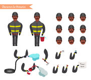 Set for animation of firefighter in uniform. Set for animation of African American firefighter in uniform, protective suit with axe, cartoon vector illustration Royalty Free Stock Image