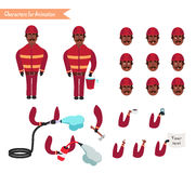 Set for animation of firefighter in uniform. Set for animation of African American firefighter in uniform, protective suit with axe, cartoon vector illustration Stock Images