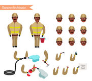Set for animation of firefighter in uniform. Set for animation of African American firefighter in uniform, protective suit with axe, cartoon vector illustration Stock Image