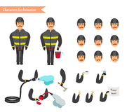 Set for animation of firefighter in uniform. Protective suit with axe, fire hose, cartoon vector illustration isolated on white background. Young firefighter Stock Photography