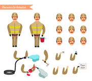 Set for animation of firefighter in uniform. Protective suit with axe, fire hose, cartoon vector illustration isolated on white background. Young firefighter Stock Photos