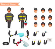 Set for animation of firefighter in uniform Stock Photos