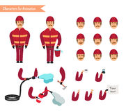 Set for animation of firefighter in uniform. Protective suit with axe, fire hose, cartoon vector illustration isolated on white background. Young firefighter Royalty Free Stock Image