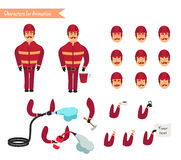 Set for animation of firefighter in uniform. Protective suit with axe, fire hose, cartoon vector illustration  on white background. Young firefighter, fireman Stock Photography