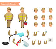 Set for animation of firefighter in uniform. Protective suit with axe, fire hose, cartoon vector illustration  on white background. Young firefighter, fireman Stock Images