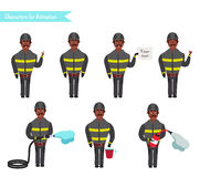 Set for animation of firefighters in uniform,. Set for animation of African American firefighters in uniform, protective suit with axe, cartoon vector Royalty Free Stock Photos