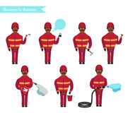 Set for animation of firefighters in uniform,. Set for animation of African American firefighters in uniform, protective suit with axe, cartoon vector Royalty Free Stock Photo