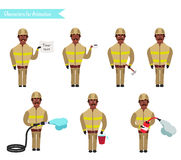 Set for animation of firefighters in uniform,. Set for animation of African American firefighters in uniform, protective suit with axe, cartoon vector Stock Photography