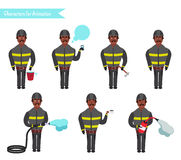 Set for animation of firefighters in uniform,. Set for animation of African American firefighters in uniform, protective suit with axe, cartoon vector Stock Photo