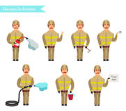 Set for animation of firefighters in uniform,. Protective suit with axe, fire hose, cartoon vector illustration isolated on white background. Young firefighter Royalty Free Stock Image