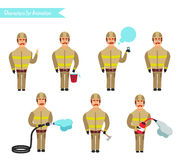 Set for animation of firefighters in uniform,. Protective suit with axe, fire hose, cartoon vector illustration isolated on white background. Young firefighter Royalty Free Stock Photos
