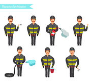 Set for animation of firefighters in uniform, Stock Image