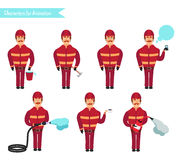 Set for animation of firefighters in uniform,. Protective suit with axe, fire hose, cartoon vector illustration  on white background. Young firefighter, fireman Royalty Free Stock Photography