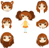 Set of anime girl haircuts Royalty Free Stock Photo