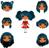Set of anime girl haircuts. Black colour variation Royalty Free Illustration