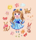 Set of anime stickers drawn in watercolor. Collection of chibi g Royalty Free Stock Photo