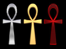 Set of ankh symbols isolated on the black. Stock Photos