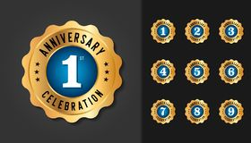 Set of anniversary badges. Golden anniversary celebration emblem. Design for booklet, leaflet, magazine, brochure poster, web, invitation or greeting card stock illustration