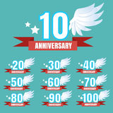 Set of anniversary emblems vector Stock Photography