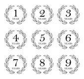 Set of anniversary laurel wreaths. Set of anniversary floral laurel wreaths royalty free illustration