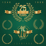Set of anniversary golden emblems Stock Images