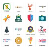 Set of 20 anniversary, icecream, girl power, volleyball tournament, locomotive, drama, dragonfly, stag head, gluten free icons. Set Of 16 simple editable icons Stock Photography