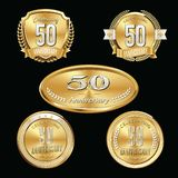 50th Anniversary emblems set. Set of anniversary isolated emblems on black background. 50 golden years with gold ribbons royalty free illustration