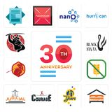 Set of 30 anniversary, lodging, 70 years, courage, judicial, gluten free, sparta, black swan, icons. Set Of 13 simple editable icons such as 30 anniversary Stock Image