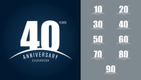 Set of anniversary logotype. Anniversary celebration design temp. Late for booklet, leaflet, magazine, brochure poster, web, invitation or greeting card. Vector stock illustration