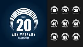 Set of anniversary logotype. Anniversary celebration design temp. Late for booklet, leaflet, magazine, brochure poster, web, invitation or greeting card. Vector Royalty Free Stock Photography
